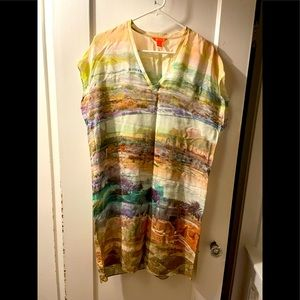 Pastel multi coloured silk dress